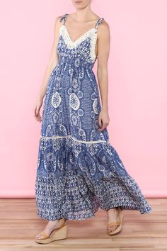 377aa1a3e66 Light and dark blue maxi dress with fitted elastic waist