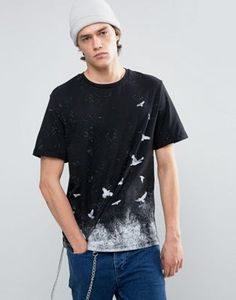 ASOS Relaxed T-Shirt With Bird Print And Roll Sleeve