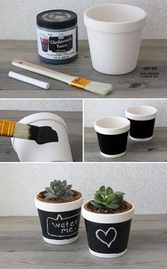 DIY Chalkboard window planters - I'd use for herbs in the kitchen (diy arts and crafts creative) Chalkboard Window, Diy Chalkboard, Chalkboard Drawings, Chalkboard Lettering, Chalkboard Paint Crafts, Kitchen Chalkboard, Diy Tableau Noir, Diy Flowers, Flower Pots