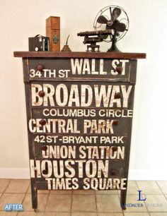 upcycle an old chest..stencil street names of your favorite city!