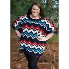 Plus Sizes: Chevron Poncho-Loose fitting poncho that is SO trendy with the chevron pattern and pleather detailing!