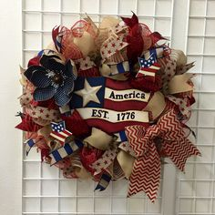 A personal favorite from my Etsy shop https://www.etsy.com/listing/522009656/fourth-of-july-wreath-independence-day
