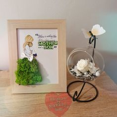 Tablou licheni si aranjament trandafir criogentat Mothers Love, Frame, Handmade, Home Decor, Picture Frame, Hand Made, Decoration Home, Room Decor, Frames