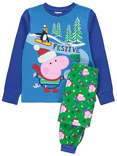 Treat your little one to some Christmas sleepwear with these adorable George Pig pyjamas. With cuffed bottoms and long sleeves for cosiness, these colourful ...