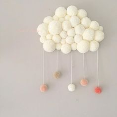 Pom Pom Cloud (picture only) Knitting For Kids, Sewing For Kids, Diy For Kids, Crafts For Kids, Loom Knitting, Crafts To Make, Home Crafts, Diy Crafts, Diy Pompon