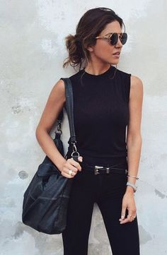 All black everything, casual street style, black tank, black denim, black belt, white oversized black purse