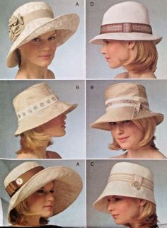 1e0ab6d92bd UC Vogue V840 Sew Pattern Millinery Lined Hats Bucket Sun 4 Styles S-M-L  Beach