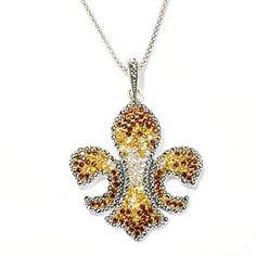 Dallas Prince Sterling Silver Pendant & Chain Made w/ Swarovski Marcasite