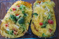 Spaghetti Squash Recipe w/broccoli, bacon, tomatoes, feta cheese!