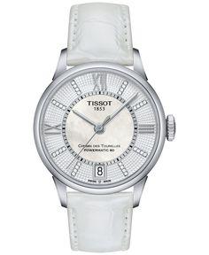 Tissot Women's Swiss Automatic Chemin Des Tourelles Diamond Accent White Leather Strap Watch 32mm T0992071611600