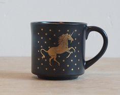 Black and Gold Unicorn Mug