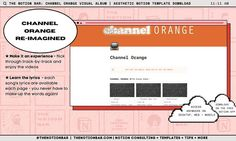 Big Frank Ocean fan? Obviously. Navigate track-to-track while listening to each song + singing along with the lyrics This is an unofficial project done in appreciation of onbe of the best albums of all time! Keep the content or switch it out for your favourite album! Channel Orange, Purchase Card, Orange Aesthetic, Test Card, Frank Ocean, Best Albums, Text You, Song Lyrics, All About Time