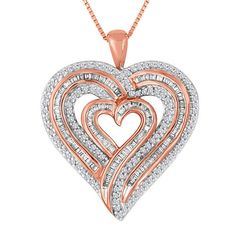 """DTJEWELS 3//4CT Sim Diamond 14K White Gold Plated Tilted Heart Pendant 18/"""" Chain Necklace for Womens"""