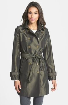 London Fog Iridescent Double Breasted Trench Coat (Online Only) available at #Nordstrom