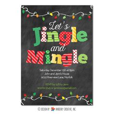 Mingle and Jingle Christmas Lights Invitation (Traditional Colors)