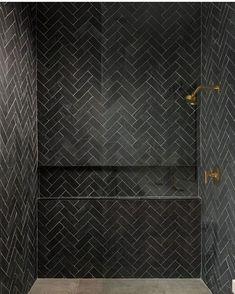 Shower Remodel Brown and Master Shower Remodel On A Budget. Black Tile Bathrooms, Small Bathroom, Bathroom Ideas, Neutral Bathroom, Bathroom Tile Designs, Master Shower, Walk In Shower, Shower Set, Master Bathroom