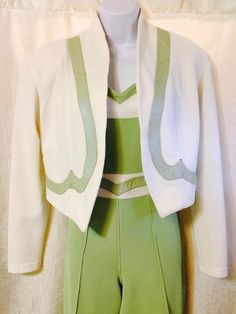 Cache Fashionable Work+Play 2 Pc Lime Green & White Jumpsuit & Jacket, 12  | eBay