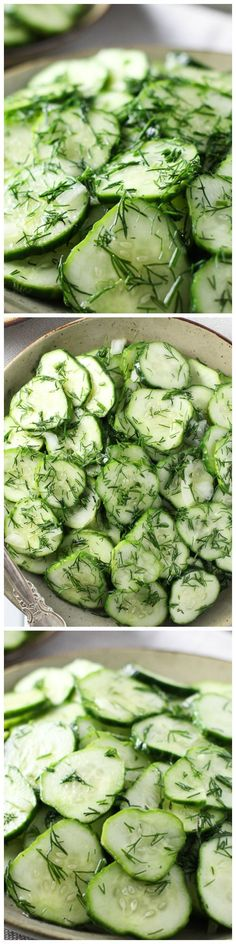 German Cucumber #Salad with Dill - This simple salad is nice and tart, super crunchy and refreshing. It's perfect for a family dinner or a party. The leftovers taste great too: