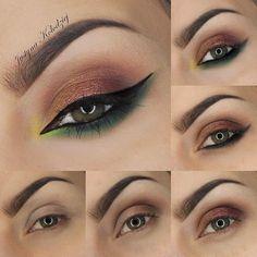 Maquillaje y delineado paso a paso. Brown, Copper & Green