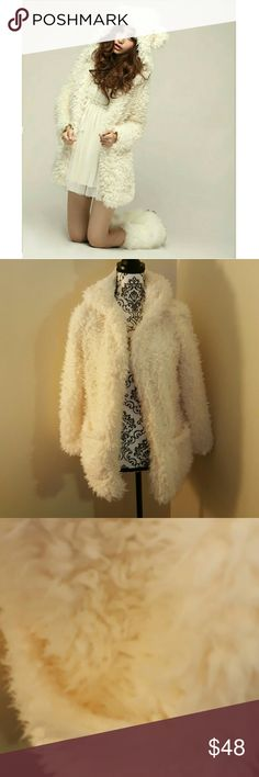 Fuzzy Fluffy Coat Brand new! Size small (oversized) Super super super soft and obviously so adorable!   Offers welcome! Jackets & Coats