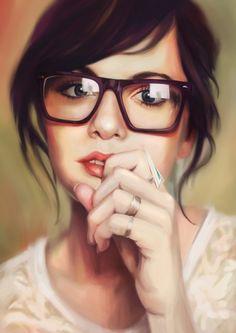 "Digital Painting of ""Gentle Girl"", a realistic work by Lim Mei Yee - very beautiful http://dizy.be/30b811"