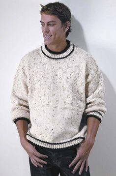 Easy Favorite Pullover for Men - free knitting pattern Sweater Knitting Patterns, Knit Patterns, Free Knitting, Mens Knit Sweater, Knit Sweaters, Mens Pullover, Diy Gifts For Men, Red Heart Yarn, Pattern Books