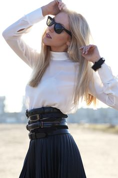 Love the polo neck chiffon shirt