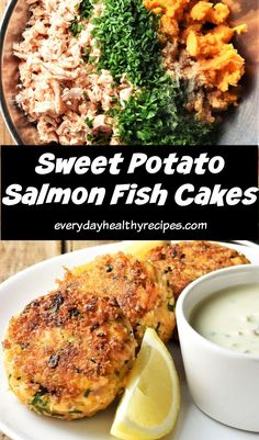 These delicious sweet potato salmon fish cakes are made with fresh herbs for added flavour and moisture. They contain a handful of ingredients and, with a little preparation, can be ready in minutes! #salmonrecipes #fishcakes #sweetpotatorecipes #salmonfishcakes #everydayhealthyrecipes Easy Family Dinners, Healthy Family Meals, Easy Healthy Recipes, Healthy Foods, Salmon Recipes, Fish Recipes, Seafood Recipes, Salmon Dishes, Fish Dishes