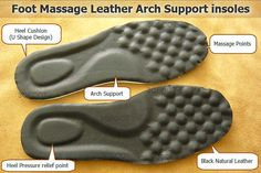 Foot Massage Leather Arch Support insoles  25CM by footpainrelief
