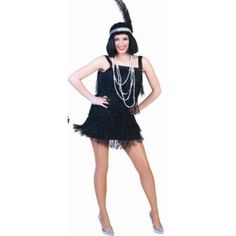Déguisement charleston Céline deluxe adulte femme, robe charleston noir avec sequin.