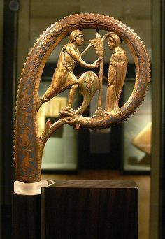 Crozier, Limoges, 1st half of 13th century, with Annunciation scene.