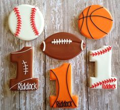 This Listing is for 1 Dozen Sports Ball and Number 1 Cookies Cookies    2 of each Design    **Maximum of 7 Characters for Name**          *For an