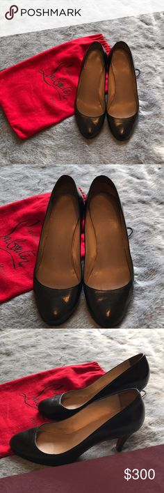 "[christian louboutin] Black Pumps 85mm/3.25"" Heel [christian louboutin] Black Pumps 85mm/3.25"" Heel * Re-Posh. Toe box too small for me. I need a 38.5. * Bottoms have been resoled and new insoles for comfort.  * A flaw that was fixed is shown in pics. * Great used condition! Tons of life left in these beautiful shoes!! *Comes with dustbag √Offers Welcome w/Offer Button ⊘Trade ⊘PP √Bundle Discount √Ships1Day. Christian Louboutin Shoes Heels"