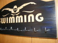 Swimming Medals Hanger  : Sports Medal Display Rack  Ribbon Awards Hanger Swimming medals holder on Etsy, $30.00
