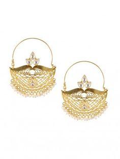 Golden-Pearl Silver Earring