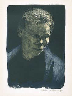 Käthe Kollwitz (Germany, Königsberg, 1867 - 1945) Portrait of a working-class woman with blue shawl, 1903  Print, Lithograph printed in light blue, dark blue and brown on japan paper, Image: 14 11/16 x 10 7/16 in. (37.3 x 26.5 cm); Sheet: 22 x 17 3/4 in. (55.9 x 45.1 cm)  The Robert Gore Rifkind Center for German Expressionist Studies (M.82.288.182)