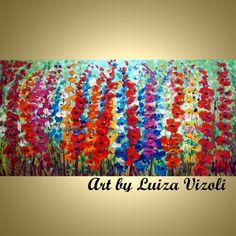 WILD LUPINE BLOOM Original Impasto Oil Painting by LUIZAVIZOLI, $350.00
