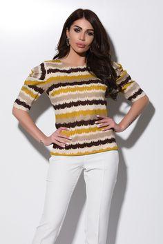 Bluza casual imprimeu colorat Bln 201c Atmosphere Fashion, Casual, Tops, Women, Shell Tops, Random, Casual Clothes