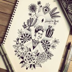 Frida Kahlo, Violette Bleu_noir