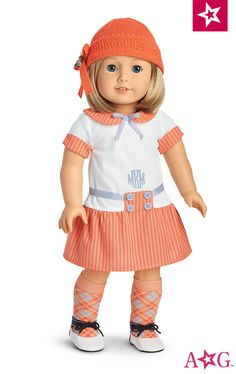 Kit's Mini Golf Outfit $34 Kit's pastel golf outfit was made for hitting the green in style! The drop-waist dress features contrast cuffs, a fashionable Peter Pan collar, and skirt with button and ribbon details, as well as Kit's embroidered initials: MMK. Her matching argyle socks, two-tone shoes, and knit hat with a ribbon flower add the perfect finishing touches to the outfit.