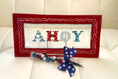 """Nautical Oblong """"AHOY"""" Serving Platter with Coordinating Jeweled Hand-Beaded Cheese Knife / Spreader. Coastal Entertaining. Beach Decor. by AngelBellaCreations on Etsy"""