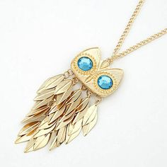 2014 chegam novas Hot Moda Feminina Ouro Folhas Tassel Charme pingente coruja colar Freeshipping & Distribuição
