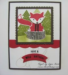 Stamps: Foxy Friends, Thoughtful Banners Paper: Early Espresso, Whisper White, Real Red.   Ink: Early Espresso, Real Red, Archival Basic Black, Old Olive.   Accessories: Layering Squares Framelits, Fox Builder Punch, Duet Banner Punch, Best Badge Punch.