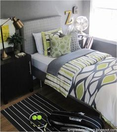 Grey Teen Rooms | ... this stylish gray plus green teen boys room over at Simple Details