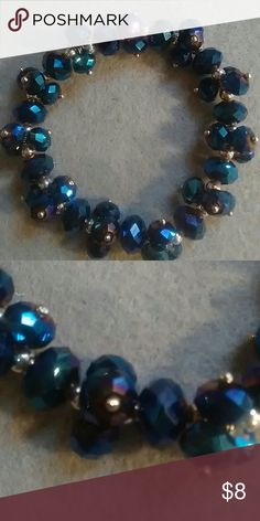 """Midnight Blue Beaded bracelet NWOT Stretch bracelet 8"""" . Nice quality midnight blue beads with silertone accents. Add nice bling to jeans or formal outfit. Jewelry Bracelets"""