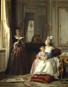 Madame de Lamballe reading to Marie Antoinette  and her daughter, Marie Thérèse Charlotte by Joseph CARAUD