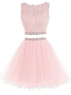 Kaufen Sie Henglizh Short Lace Appliques Beaded Two Pieces Abendkleid Homecoming Kleider online – Topamazingtrendy Cute Prom Dresses, Sweet 16 Dresses, Grad Dresses, 15 Dresses, Elegant Dresses, Pretty Dresses, Homecoming Dresses, Sexy Dresses, Beautiful Dresses