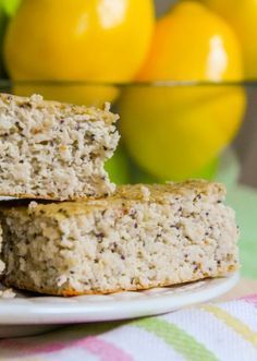 Lemon Poppyseed Protein Squares - Squeaky clean ingredients, with a super creamy, cheesecake-y like texture! #healthy #recipe #eatclean