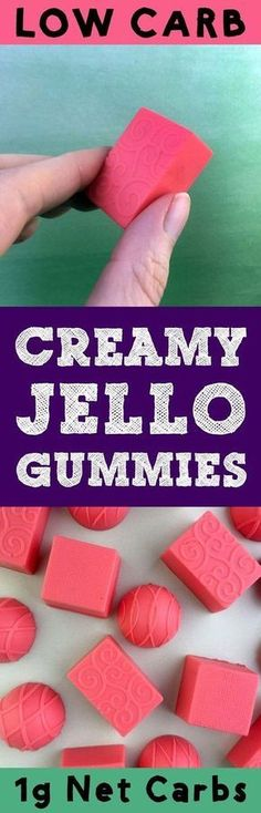 Creamy Jello Gummies.. Something between Gummy Bears and Fat Bombs! 1 (.3 oz) package Sugar Free Raspberry Jello2 envelopes Knox Unflavored Gelatine1 tablespoon Powdered Swerve or equivalent powdered sweetener1/2 cup cold water1/2 cup heavy whipping cream