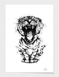 "Curioos.com | ""meowr in black"" by cj del rosario  - Gallery Quality Art Print"